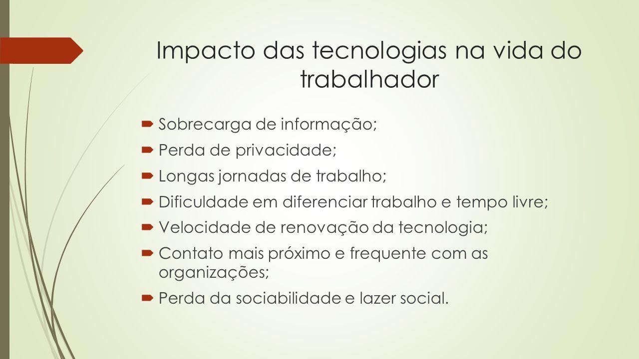 Impacto das tecnologias na vida do trabalhador Sobrecarga de informação; Perda de privacidade; Longas jornadas de trabalho; Dificuldade em diferenciar