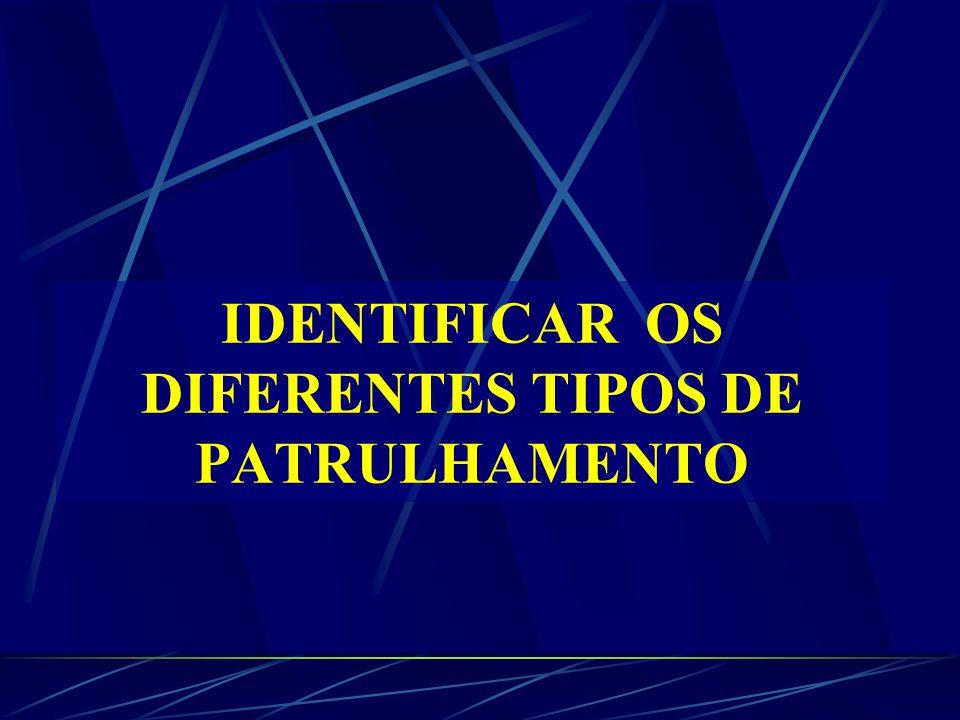 IDENTIFICAR OS DIFERENTES TIPOS DE PATRULHAMENTO
