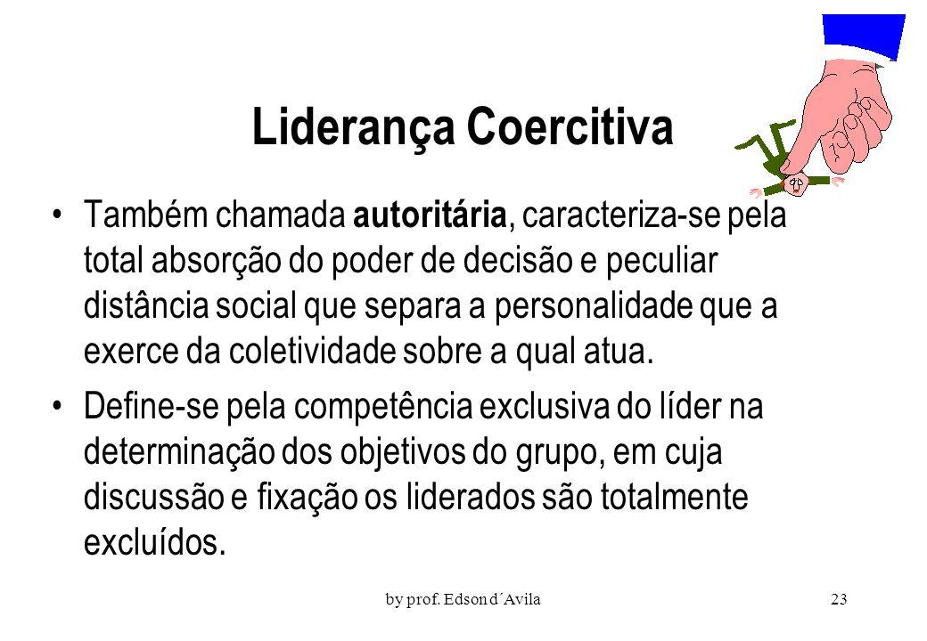 by prof. Edson d´Avila22 Liderança Executiva e Democrática Supostamente presente nas grandes organizações, a liderança executiva se caracteriza princi