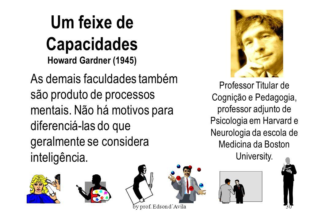 by prof. Edson d´Avila29 Inteligência Tradicionalmente, a inteligência estava limitada à aptidão para matérias e competências escolares. Aqueles de nó
