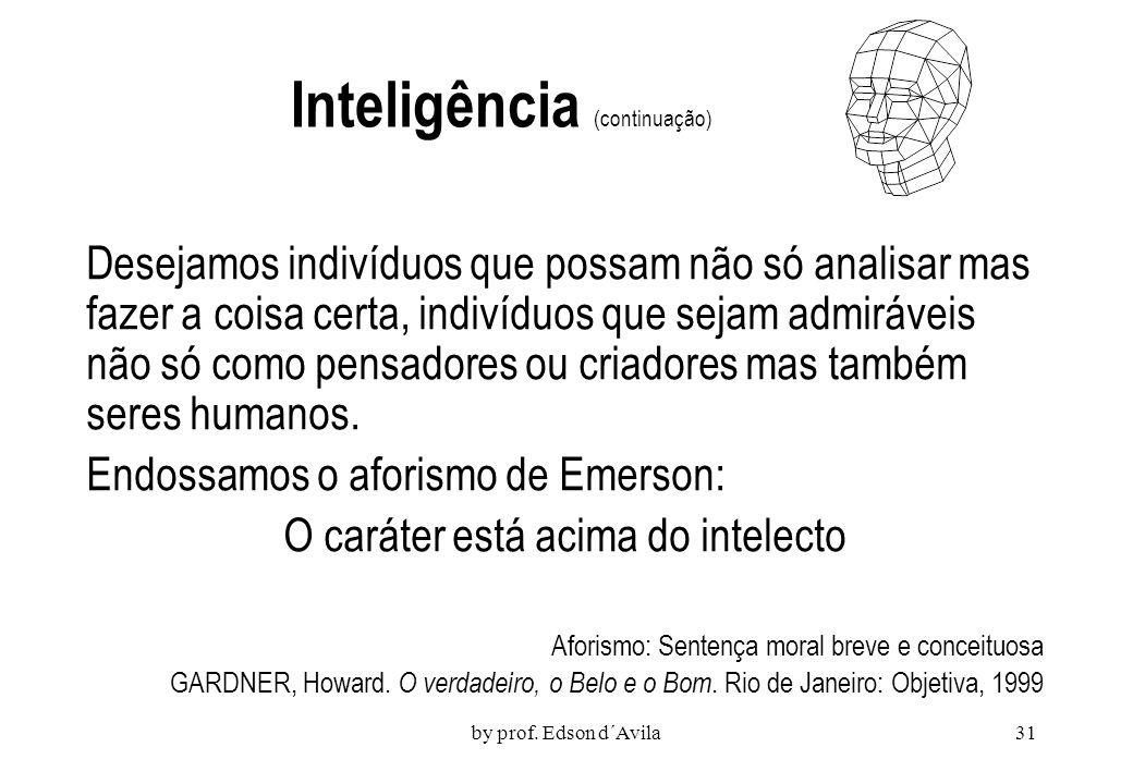 by prof. Edson d´Avila30 Um feixe de Capacidades Howard Gardner (1945) As demais faculdades também são produto de processos mentais. Não há motivos pa