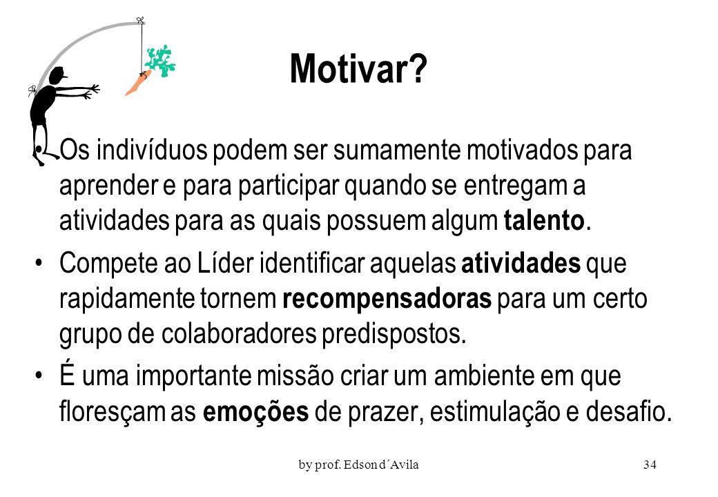 by prof. Edson d´Avila33 Por que alguns são motivados e outros não? Num franco desafio aos behavioristas, que vincularam diretamente a motivação à rec