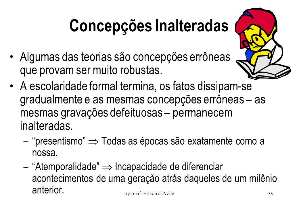 by prof. Edson d´Avila38 Obstáculos ao Entendimento As crianças não requerem educação formal para desenvolver representações ou teorias sobre objetos