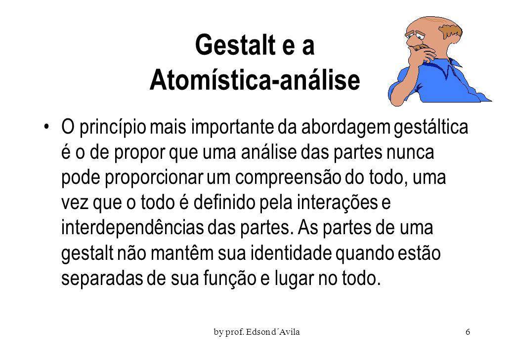 by prof. Edson d´Avila5 Gestalt Configuração, forma ou estrutura Escola psicológica que defende o estudo de fatos e comportamentos como totalidades or