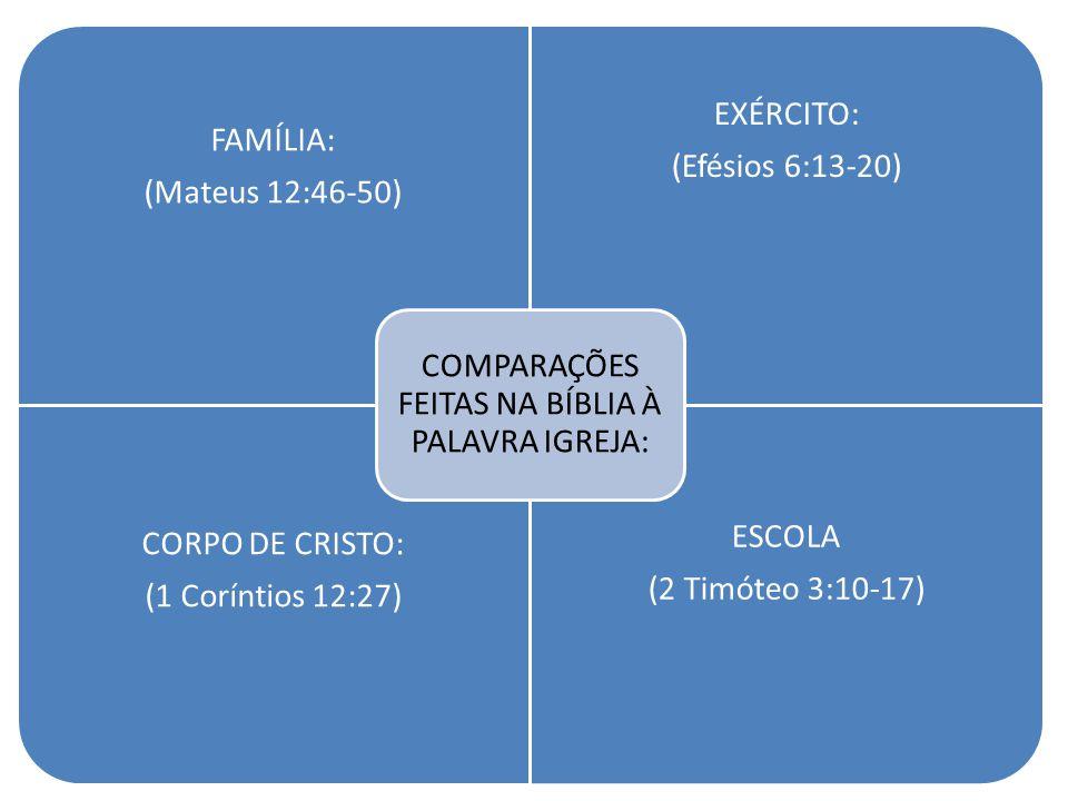 FAMÍLIA: (Mateus 12:46-50) EXÉRCITO: (Efésios 6:13-20) CORPO DE CRISTO: (1 Coríntios 12:27) ESCOLA (2 Timóteo 3:10-17) COMPARAÇÕES FEITAS NA BÍBLIA À