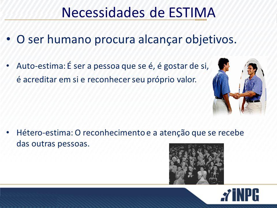 Necessidades de ESTIMA O ser humano procura alcançar objetivos. Auto-estima: É ser a pessoa que se é, é gostar de si, é acreditar em si e reconhecer s