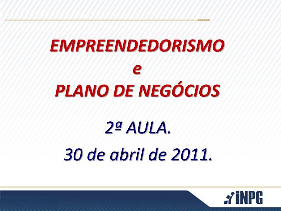 2ª AULA. 30 de abril de 2011. EMPREENDEDORISMOe PLANO DE NEGÓCIOS