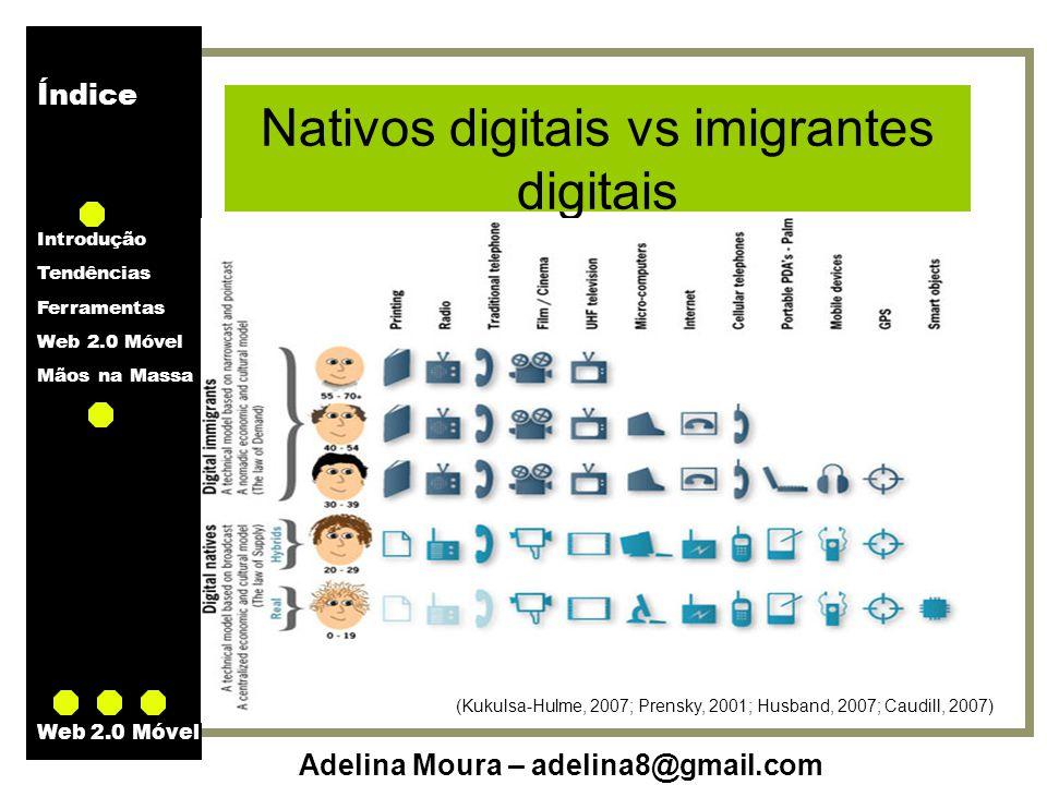 Índice Introdução Tendências Ferramentas Web 2.0 Móvel Mãos na Massa Adelina Moura – adelina8@gmail.com Web 2.0 Móvel Nativos digitais vs imigrantes d