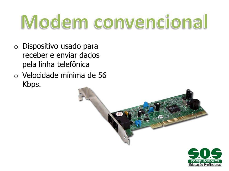 o Dispositivo usado para receber e enviar dados pela linha telefônica o Velocidade mínima de 56 Kbps.