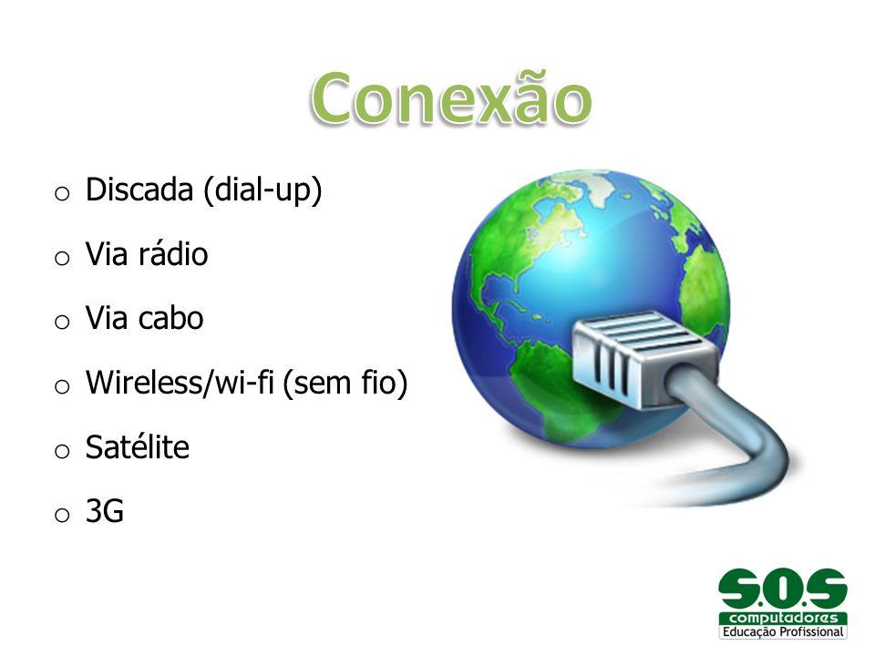 o Discada (dial-up) o Via rádio o Via cabo o Wireless/wi-fi (sem fio) o Satélite o 3G
