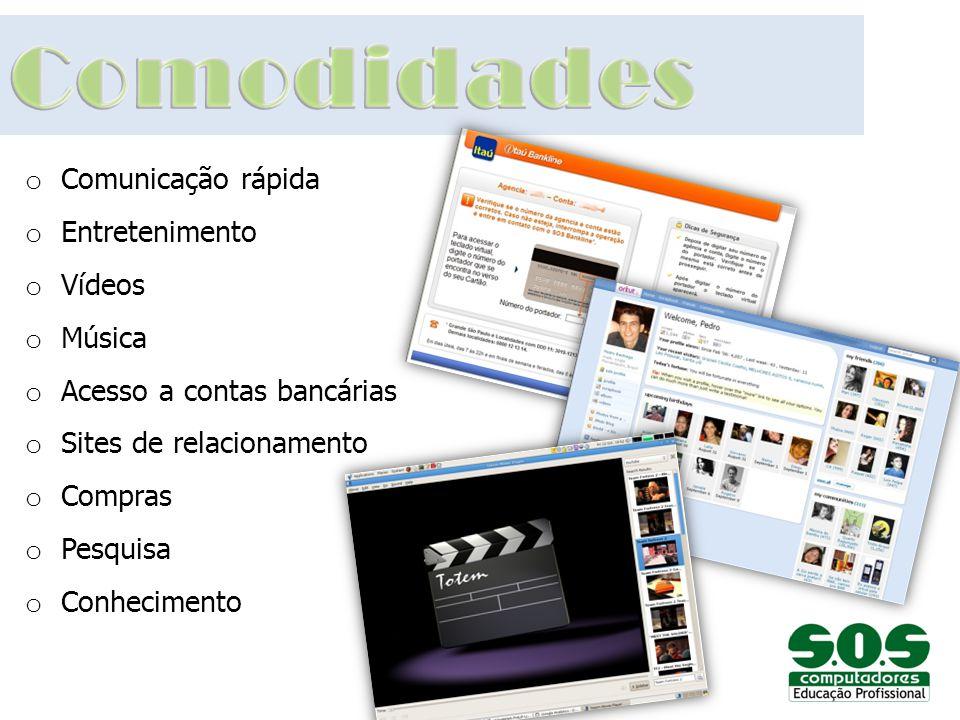 o Comunicação rápida o Entretenimento o Vídeos o Música o Acesso a contas bancárias o Sites de relacionamento o Compras o Pesquisa o Conhecimento