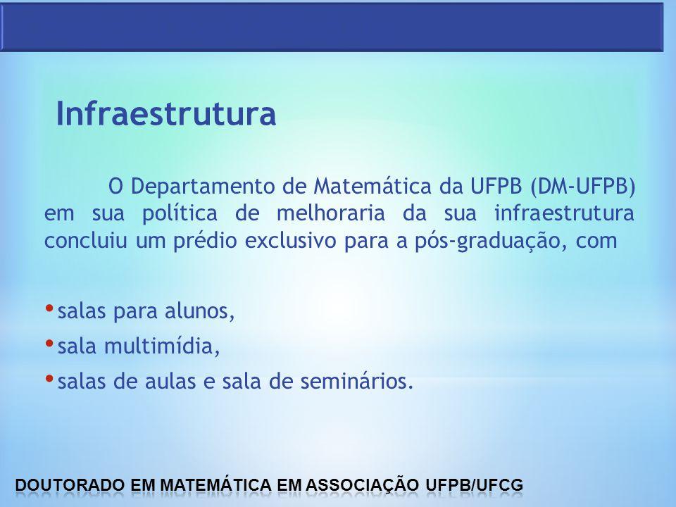 O Departamento de Matemática da UFPB (DM-UFPB) em sua política de melhoraria da sua infraestrutura concluiu um prédio exclusivo para a pós-graduação,