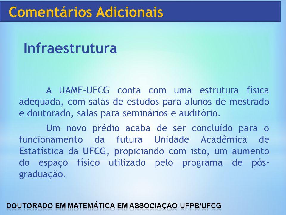 A UAME-UFCG conta com uma estrutura física adequada, com salas de estudos para alunos de mestrado e doutorado, salas para seminários e auditório. Um n