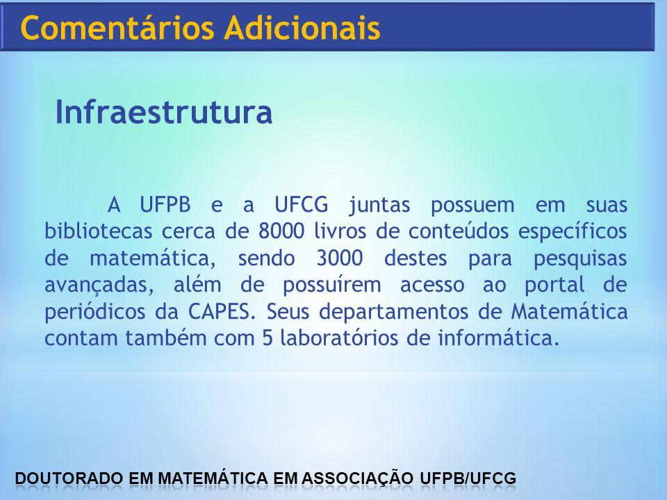 A UFPB e a UFCG juntas possuem em suas bibliotecas cerca de 8000 livros de conteúdos específicos de matemática, sendo 3000 destes para pesquisas avanç