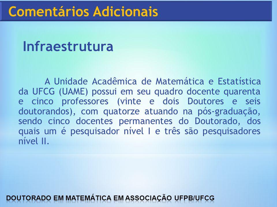 A Unidade Acadêmica de Matemática e Estatística da UFCG (UAME) possui em seu quadro docente quarenta e cinco professores (vinte e dois Doutores e seis