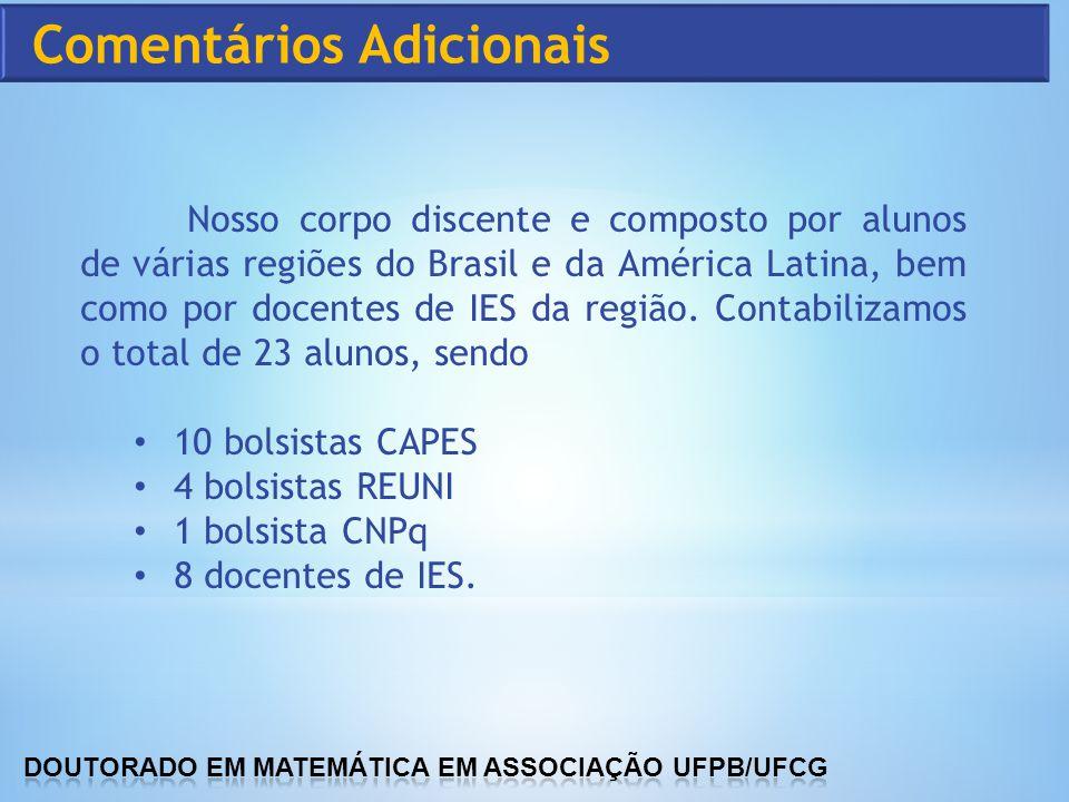 Nosso corpo discente e composto por alunos de várias regiões do Brasil e da América Latina, bem como por docentes de IES da região. Contabilizamos o t