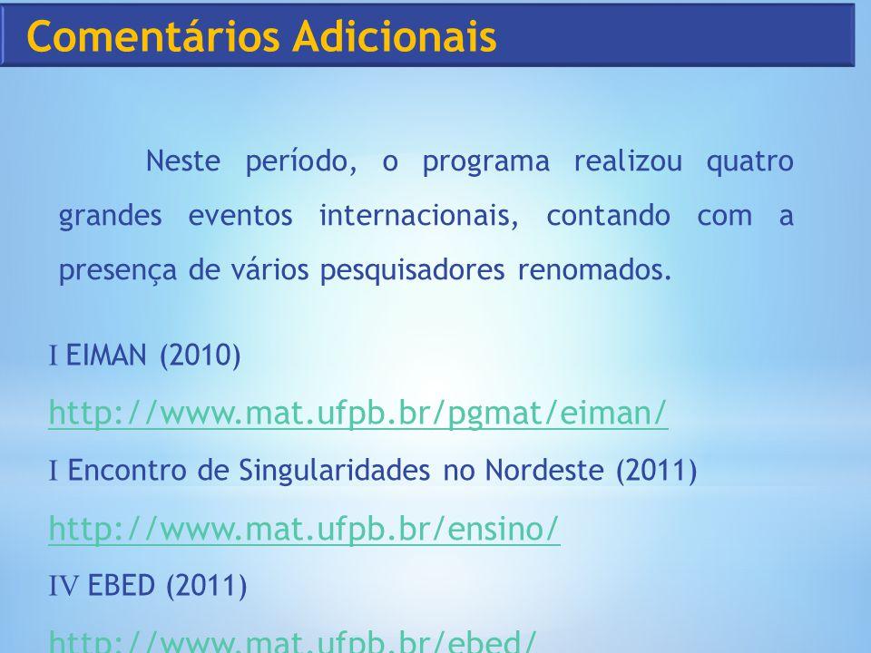 Neste período, o programa realizou quatro grandes eventos internacionais, contando com a presença de vários pesquisadores renomados. I EIMAN (2010) ht