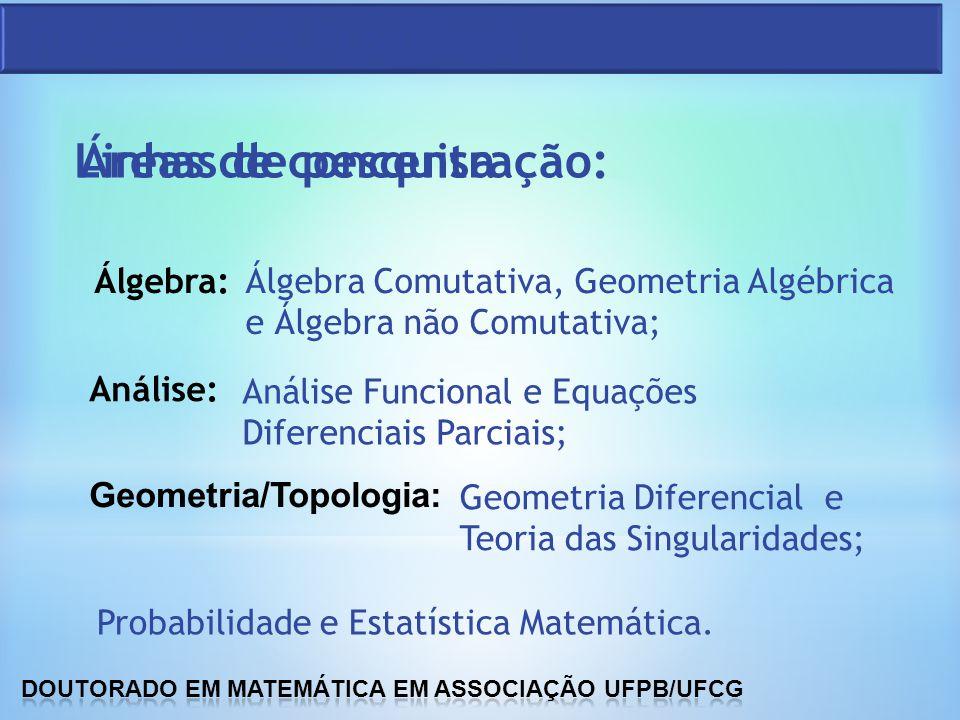 Áreas de concentração: Álgebra: Análise: Geometria/Topologia: Álgebra Comutativa, Geometria Algébrica e Álgebra não Comutativa; Análise Funcional e Eq