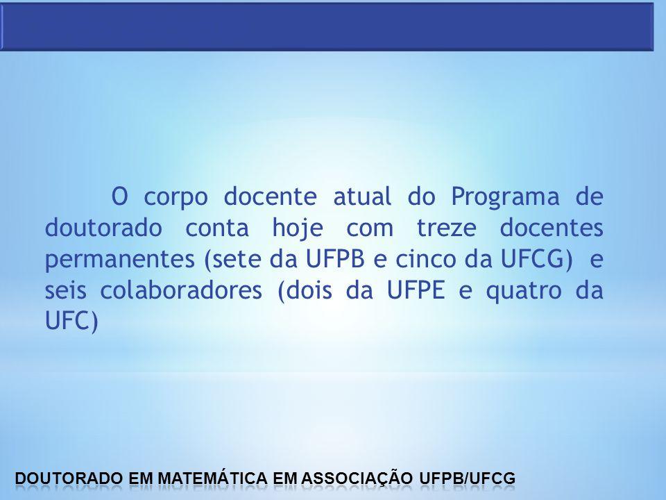 O corpo docente atual do Programa de doutorado conta hoje com treze docentes permanentes (sete da UFPB e cinco da UFCG) e seis colaboradores (dois da