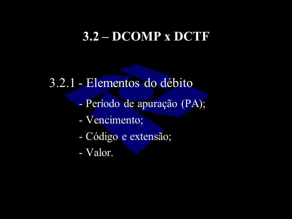 3.2 – DCOMP x DCTF - Período de apuração (PA); - Vencimento; - Código e extensão; - Valor. 3.2.1 - Elementos do débito
