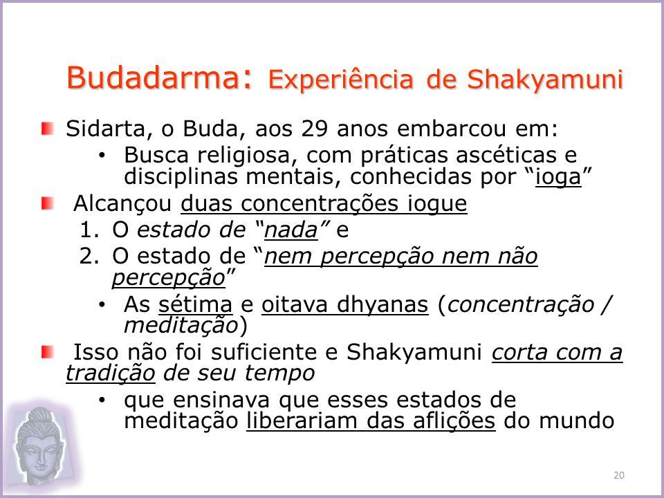 Sidarta, o Buda, aos 29 anos embarcou em: Busca religiosa, com práticas ascéticas e disciplinas mentais, conhecidas por ioga Alcançou duas concentraçõ