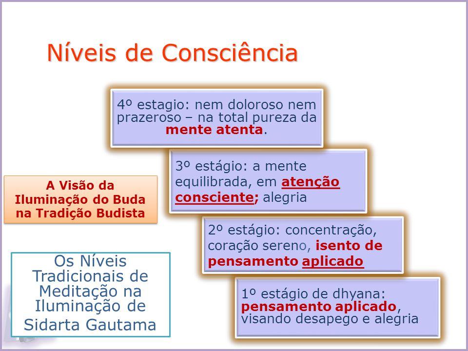 1º estágio de dhyana: pensamento aplicado, visando desapego e alegria 2º estágio: concentração, coração sereno, isento de pensamento aplicado 3º estág
