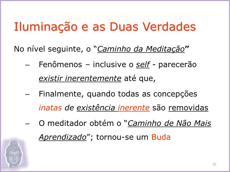 No nível seguinte, o Caminho da Meditação – Fenômenos – inclusive o self - parecerão existir inerentemente até que, – Finalmente, quando todas as conc