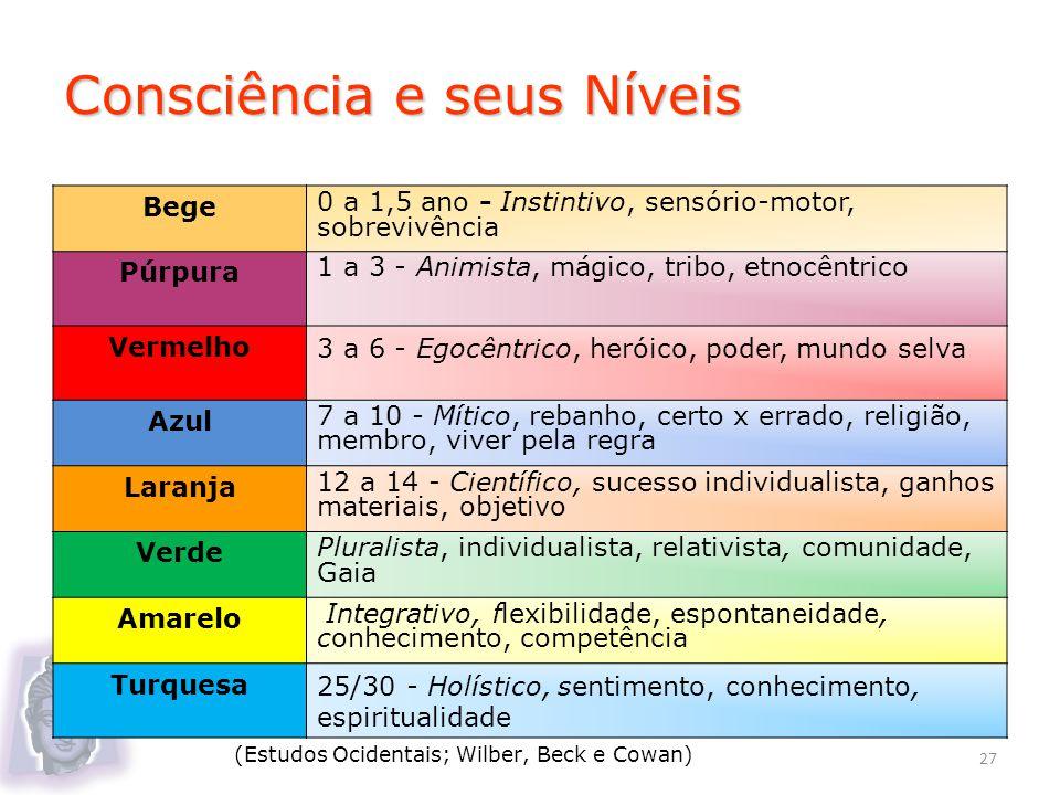Consciência e seus Níveis Bege 0 a 1,5 ano - Instintivo, sensório-motor, sobrevivência Púrpura 1 a 3 - Animista, mágico, tribo, etnocêntrico Vermelho3
