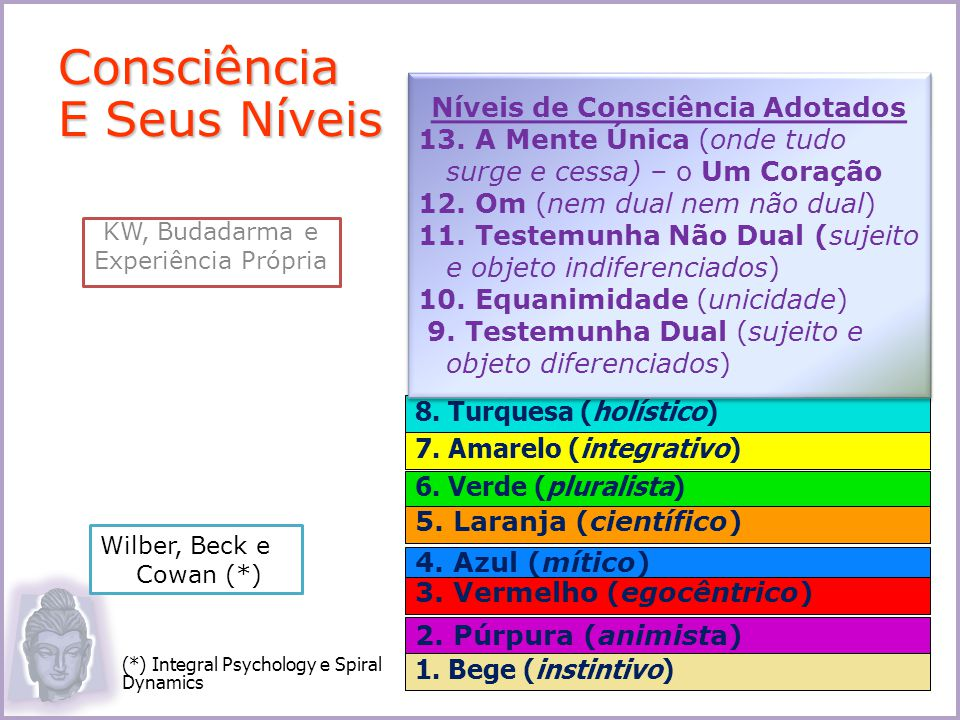 8. Turquesa (holístico) 7. Amarelo (integrativo) 6. Verde (pluralista) 5. Laranja (científico) 4. Azul (mítico) 3. Vermelho (egocêntrico) 2. Púrpura (