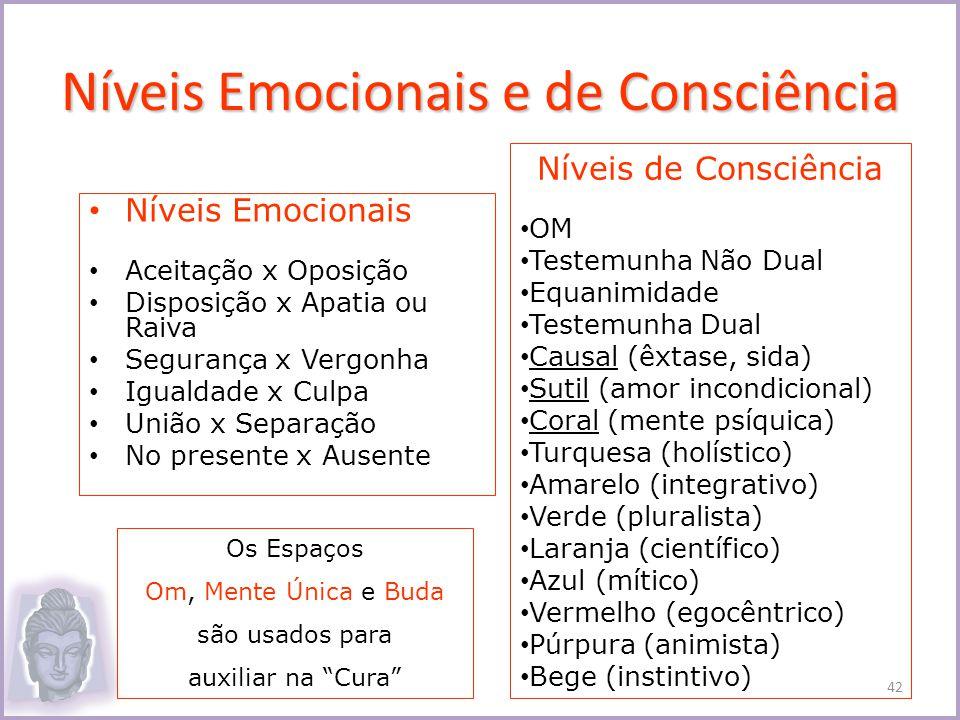 Níveis Emocionais e de Consciência Níveis Emocionais Aceitação x Oposição Disposição x Apatia ou Raiva Segurança x Vergonha Igualdade x Culpa União x