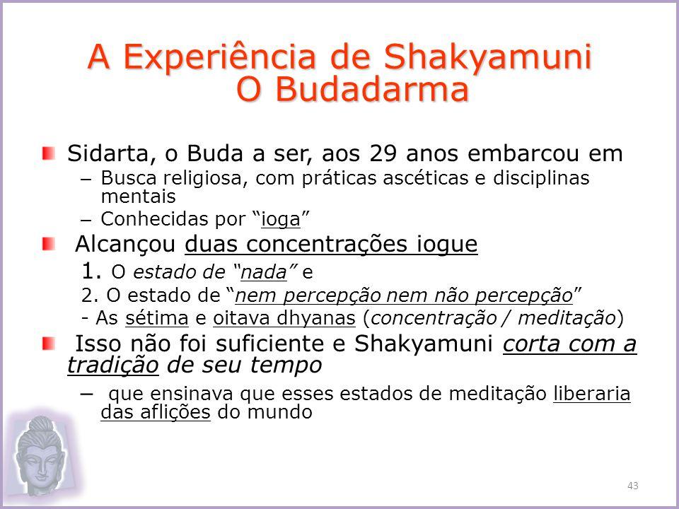 Sidarta, o Buda a ser, aos 29 anos embarcou em – Busca religiosa, com práticas ascéticas e disciplinas mentais – Conhecidas por ioga Alcançou duas con