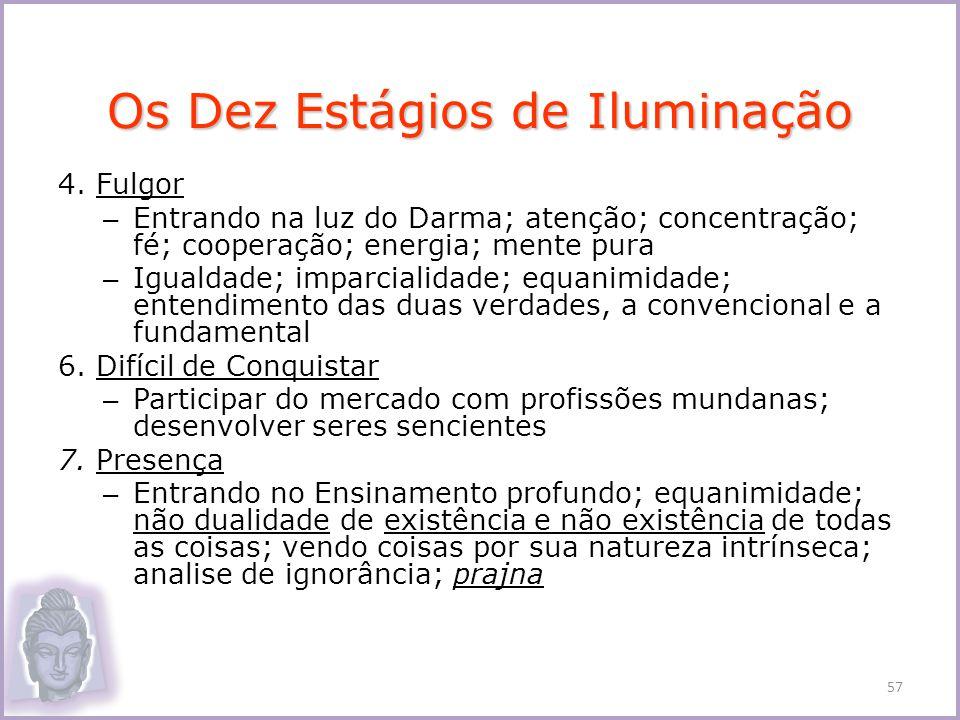 4. Fulgor – Entrando na luz do Darma; atenção; concentração; fé; cooperação; energia; mente pura – Igualdade; imparcialidade; equanimidade; entendimen