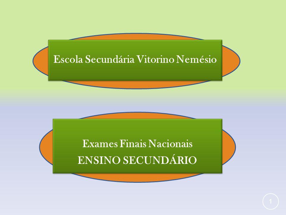 Exames Finais Nacionais ENSINO SECUNDÁRIO Exames Finais Nacionais ENSINO SECUNDÁRIO 1 Escola Secundária Vitorino Nemésio