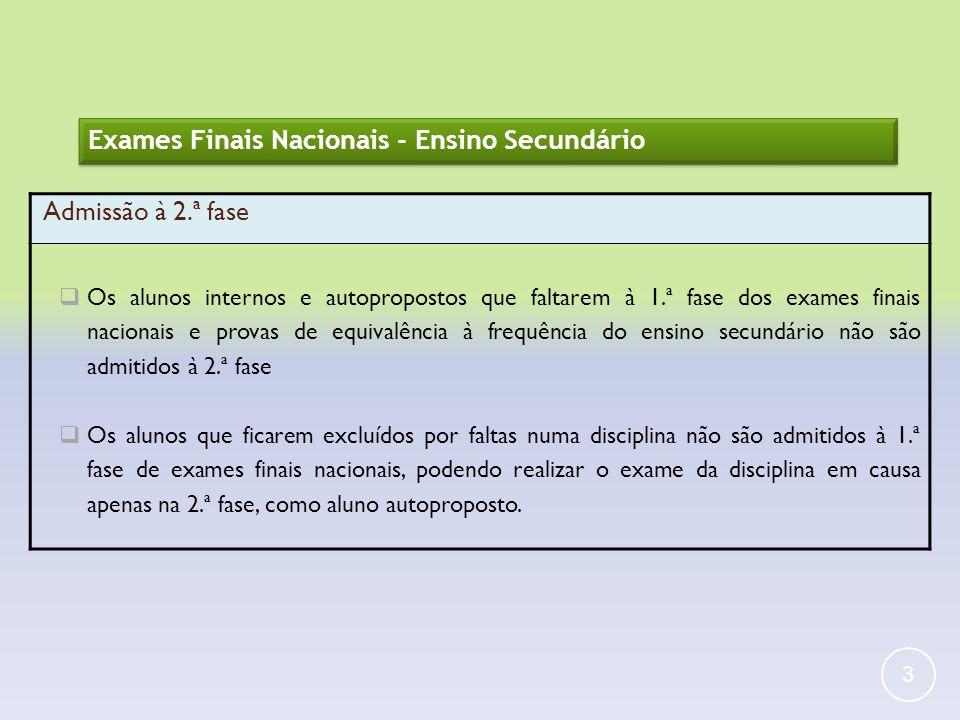 3 Exames Finais Nacionais - Ensino Secundário Admissão à 2.ª fase Os alunos internos e autopropostos que faltarem à 1.ª fase dos exames finais naciona