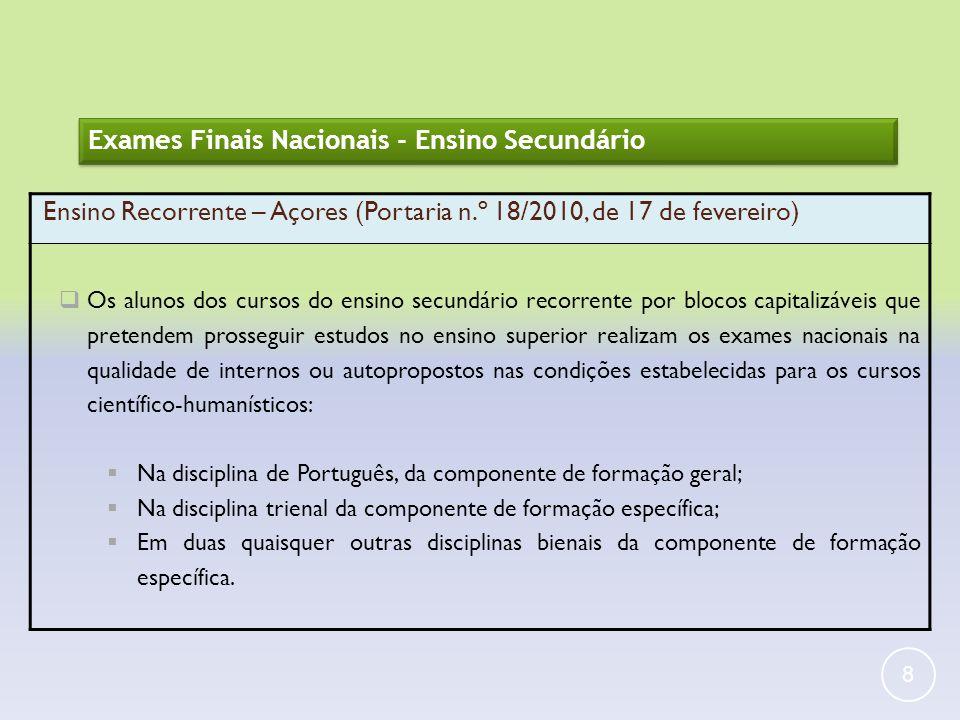 8 Exames Finais Nacionais - Ensino Secundário Ensino Recorrente – Açores (Portaria n.º 18/2010, de 17 de fevereiro) Os alunos dos cursos do ensino sec