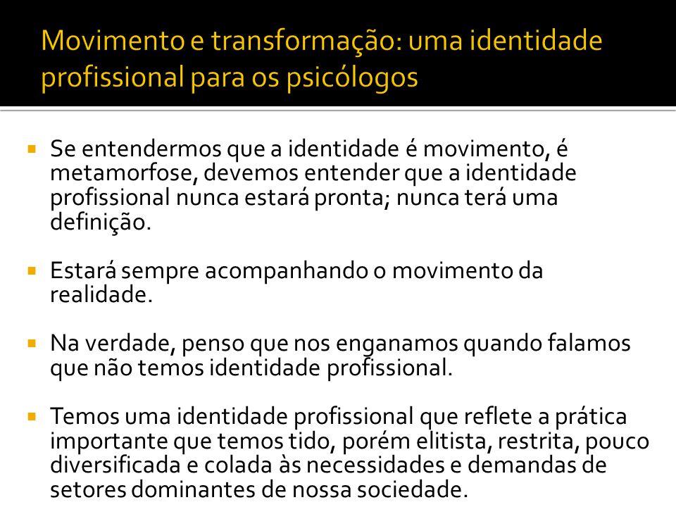 Se entendermos que a identidade é movimento, é metamorfose, devemos entender que a identidade profissional nunca estará pronta; nunca terá uma definiç