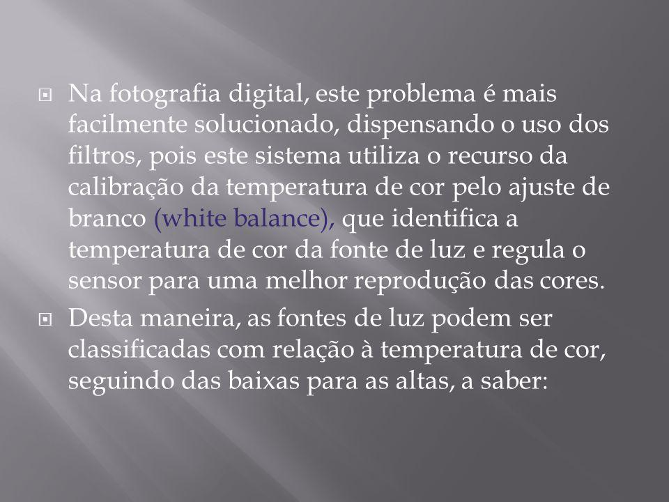 Na fotografia digital, este problema é mais facilmente solucionado, dispensando o uso dos filtros, pois este sistema utiliza o recurso da calibração d