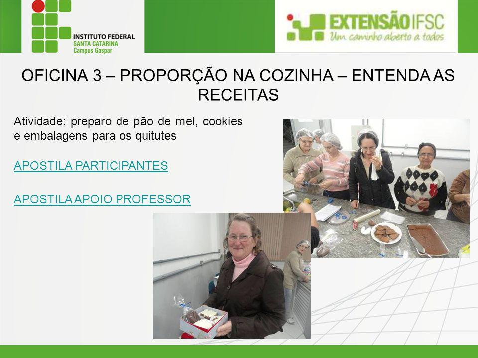 OFICINA 3 – PROPORÇÃO NA COZINHA – ENTENDA AS RECEITAS Atividade: preparo de pão de mel, cookies e embalagens para os quitutes APOSTILA PARTICIPANTES