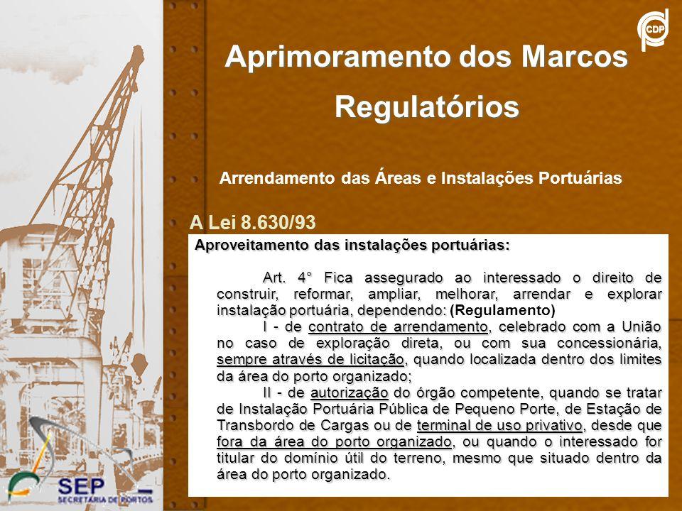15 Aprimoramento dos Marcos Regulatórios Arrendamento das Áreas e Instalações Portuárias Aproveitamento das instalações portuárias: Art. 4° Fica asseg