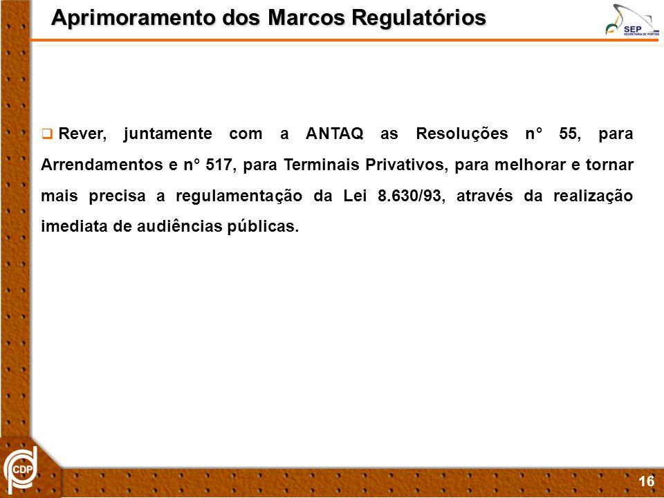16 Aprimoramento dos Marcos Regulatórios Rever, juntamente com a ANTAQ as Resoluções n° 55, para Arrendamentos e n° 517, para Terminais Privativos, pa
