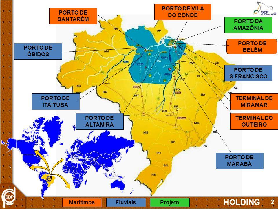 2 PORTO DE BELÉM PORTO DA AMAZÔNIA PORTO DE VILA DO CONDE TERMINAL DO OUTEIRO TERMINAL DE MIRAMAR PORTO DE MARABÁ PORTO DE ITAITUBA PORTO DE SANTARÉM PORTO DE ÓBIDOS PORTO DE ALTAMIRA PORTO DE S.FRANCISCO HOLDING MarítimosFluviaisProjeto