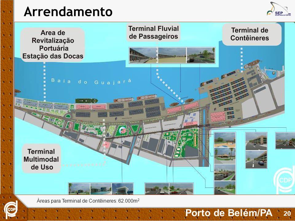 20 Áreas para Terminal de Contêineres: 62.000m 2 Porto de Belém/PA Arrendamento