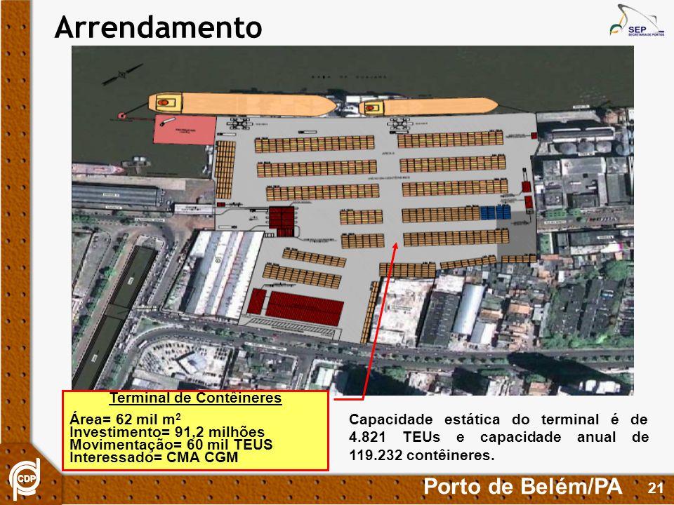 21 Arrendamento Terminal de Contêineres Área= 62 mil m 2 Investimento= 91,2 milhões Movimentação= 60 mil TEUS Interessado= CMA CGM Porto de Belém/PA Capacidade estática do terminal é de 4.821 TEUs e capacidade anual de 119.232 contêineres.