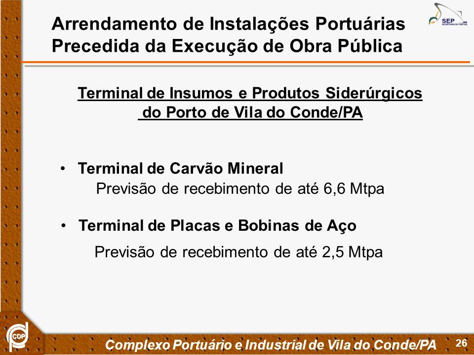 26 Complexo Portuário e Industrial de Vila do Conde/PA Arrendamento de Instalações Portuárias Precedida da Execução de Obra Pública Terminal de Insumo