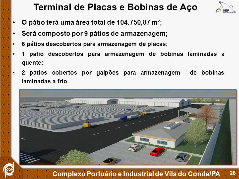 28 Complexo Portuário e Industrial de Vila do Conde/PA O pátio terá uma área total de 104.750,87 m²; Será composto por 9 pátios de armazenagem; 6 páti
