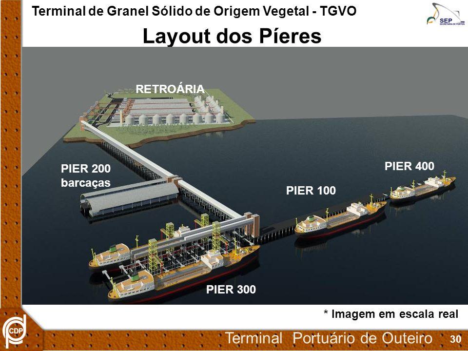 30 Terminal Portuário de Outeiro Terminal de Granel Sólido de Origem Vegetal - TGVO Layout dos Píeres * Imagem em escala real PIER 200 barcaças PIER 100 PIER 300 PIER 400 RETROÁRIA