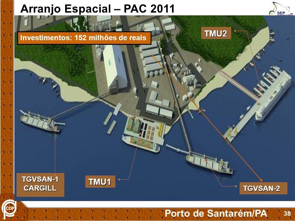 38 TMU1 TGVSAN-2 Arranjo Espacial – PAC 2011 Porto de Santarém/PA TMU2 TGVSAN-1CARGILL Investimentos: 152 milhões de reais