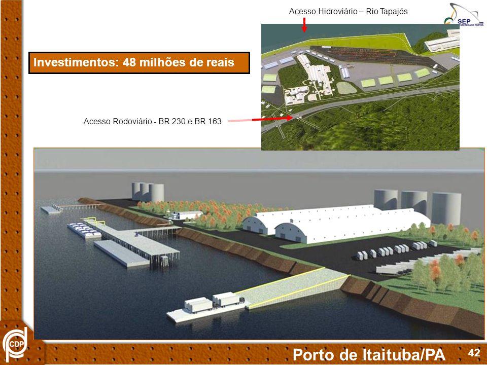 42 Investimentos: 48 milhões de reais Acesso Rodoviário - BR 230 e BR 163 Acesso Hidroviário – Rio Tapajós Porto de Itaituba/PA