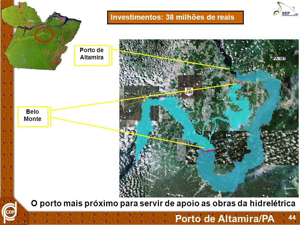 44 Investimentos: 38 milhões de reais Porto de Altamira/PA Porto de Altamira Belo Monte O porto mais próximo para servir de apoio as obras da hidrelét