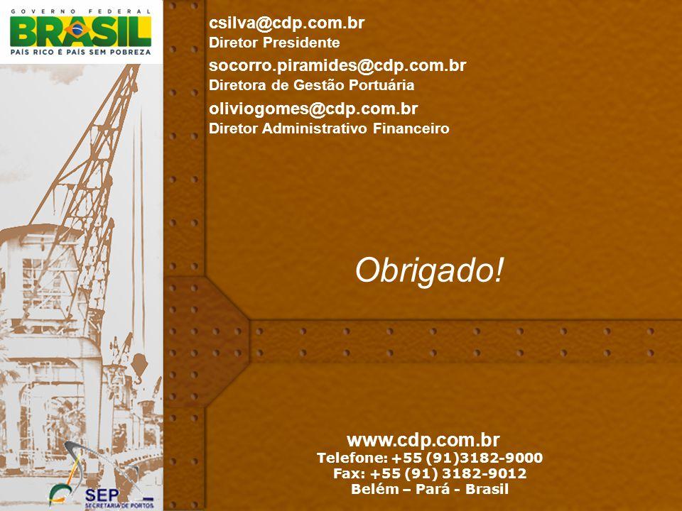 46 www.cdp.com.br Telefone: +55 (91)3182-9000 Fax: +55 (91) 3182-9012 Belém – Pará - Brasil Obrigado! socorro.piramides@cdp.com.br Diretora de Gestão